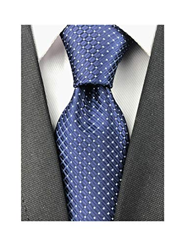Men's Classic Navy Blue Jacquard Woven Ties Check Pattern Easy-matching Wedding Formal Neckties