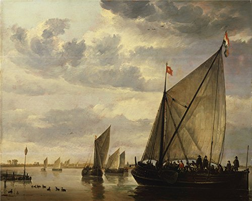 Santa Barbara Design Chandelier (Oil Painting 'Aelbert Cuyp - River Scene, 17th Century', 16 x 20 inch / 41 x 51 cm , on High Definition HD canvas prints is for Gifts And Basement, Bed Room And Dining Room Decoration)