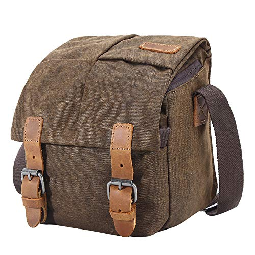 DOSNVG Camera Bag Portable Waterproof Profession Canvas DSLR Digital Casual Shoulder Messenger Bag Travel Photography Bag for Sony Canon Nikon, Coffee