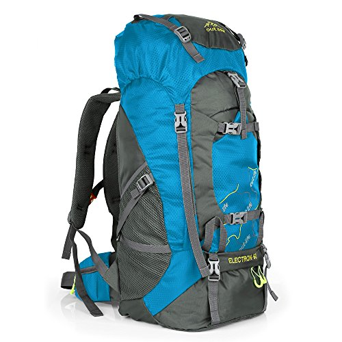 OUTLIFE 60L Hiking Backpack, Lightweight Waterproof Travel Backpack for Men Women Camping Trekking Touring (Light Blue)