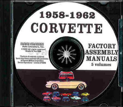 1958 1959 1960 1961 1962 CHEVROLET CORVETTE FACTORY ASSEMBLY INSTRUCTION MANUAL CD IN 5 VOLUMES - INCLUDES ALL MODELS. 58 59 60 61 62. CHEVY (62 Hardtop Corvette)