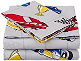 Twin Size Mk Collection 3pc Sheet Set Grey Racing Cars Teen/kids New