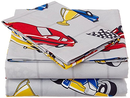 Twin Size Mk Collection 3pc Sheet Set Grey Racing Cars Teen/