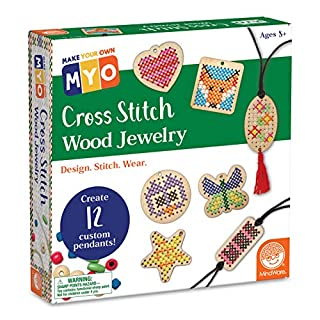 MindWare Make Your Own Cross Stitch – Cute & usable DIY Crafts for Girls & Teens – Make 12 Wooden Pendants – 29 pcs