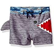 Mud Pie Baby Boys' Shark Swim Trunks,Blue,X-Small/6-9 Months