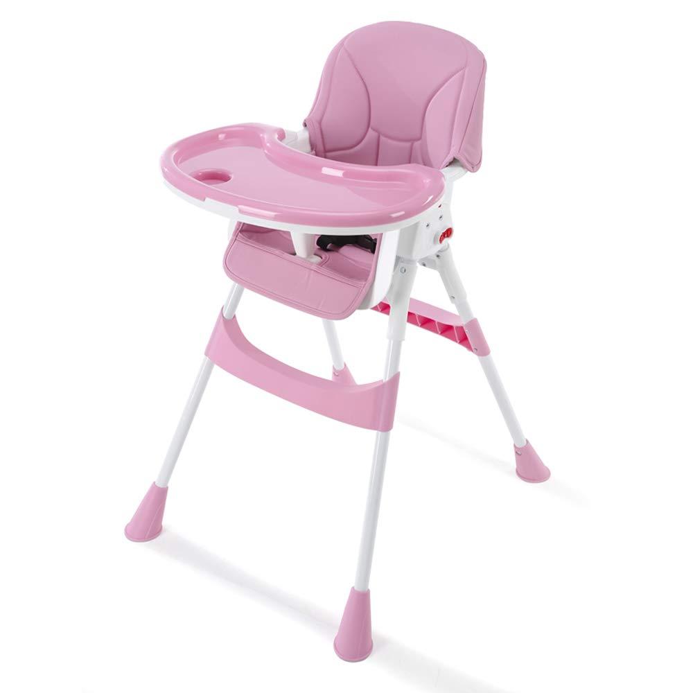 YANHTSO Silla de Comedor para bebé Silla de bebé portátil multifunción Plegable Silla de bebé para niños Comedor (Color : Pink)