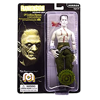 "Mego Action Figures, 8"" Frankenstein - Bare Chested with Painted Stitches, reconstructed with Different Body Parts (Limited Edition Collector's Item)"