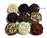 Thailand's Gifts : Natural Medium Wicker Balls With Two Tone Color Brown And White For DIY Vase And Bowl Filler Ornament, Decorative Spheres Balls, Perfect For Decoration And Party 3 - 3.5 inch, 9 Pcs