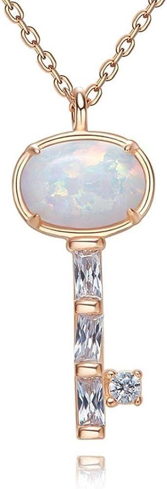 Ddcjy Collar De Plata Esterlina Clavícula Cadena Damas Colgante Clave Accesorios De Piedras Preciosas Australianas Joyería Colgante