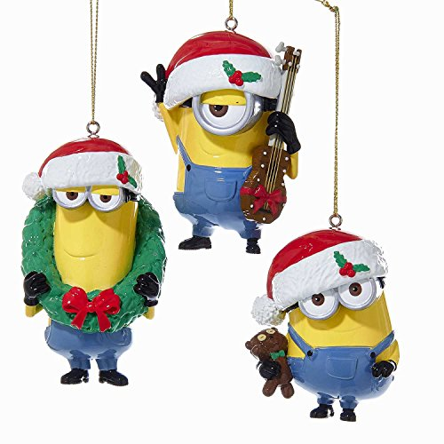 Kurt Adler 1 Set 3 Assorted Despicable Me Minions Bob, Stuart And Kevin Blow Mold Ornaments