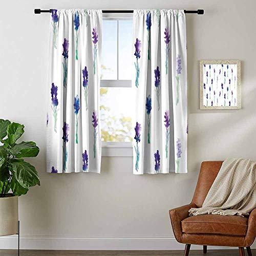 Mozenou Lavender, Thermal Insulating Blackout Curtain, Abstract Watercolor Art Style Flowers on Stems Springtime Nature, Curtains Kitchen Valance, W72 x L72 Inch Purple Turquoise Navy Blue