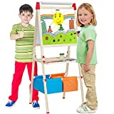 NEOWOWS 4 in 1 Wooden Giant Magnetic Art Easel Adjustable Deluxe Standing Easel with Chalkboard Dry-Erase Board Paper Roll Paper Binder Clip And Drawing Accessories