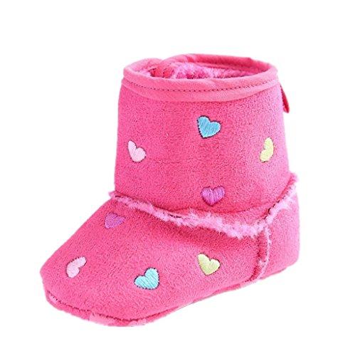 BabySchuhe Auxma Baby Herbst halten Warm Soft Sole Schnee Stiefel Soft Crib Schuhe Kleinkind Stiefel Krippeschuhe Für 0-18 Monate (12cm/6-12 M, Schwarz) Pink