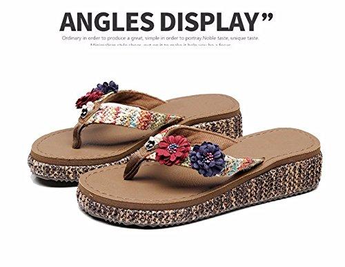 zapatillas confortable suelo La verano el rutschigen y de mar mujeres las de los pies el de cómodas y zapatillas Braun playa Bq6PH