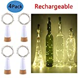 Rechargeable Wine Bottle Lights ,Anipopy 4 Pack Cork Shaped USB Powered String Fairy Lights for Bottle DIY,Christmas Halloween Gift Wedding Party Indoor Decoration (Warm white)