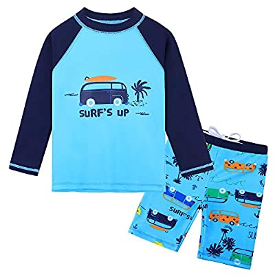 HUAANIUE Baby Toddler Boy Swimsuit Rashguard Set UPF 50+ Swimwear