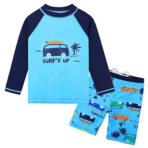 (HUANQIUE Baby Toddler Boy Swimsuit Rashguard Set UPF 50+ Swimwear Car 2-3 T)