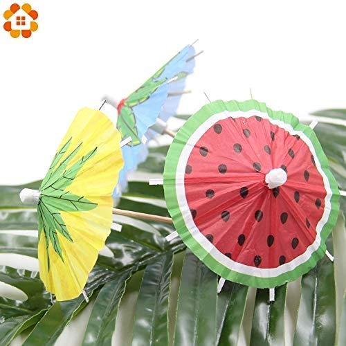 Topsame 20PCS Coconut Leaves Watermelon DIY Paper Umbrella Cake Topper Picks/Cocktail Parasols Drinks Picks Birthday/Wedding Party Decor -
