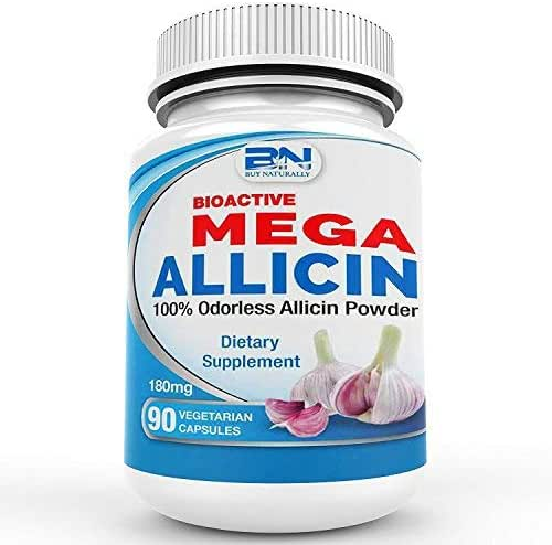 Mega Allicin 100% Allicin from Garlic 180mg, 90 count vCaps, Odorless, Non-GMO, and Gluten-Free (90 Count)