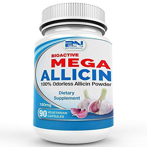 Mega Allicin 100% Allicin from Garlic 180,000 mcg, 90 Count vCaps, Odorless, Non-GMO, and Gluten-Free (90 Count)