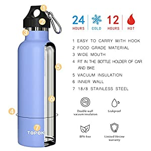 TOPOKO 25 oz Stainless Steel Vacuum Insulated Water Bottle, Keeps Drink Cold up to 24 hours & Hot up to 12 hours, Leak Proof and Sweat Proof. Large Capacity Sports Bottle (Skyblue)