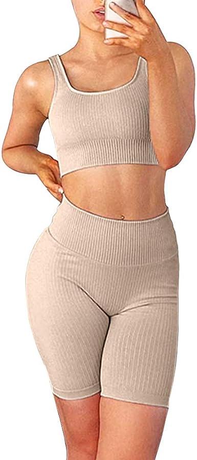Workout Sets for Women 2 Piece Seamless Ribbed Crop Tank High Waist Shorts Yoga Outfits Biker Short Sets