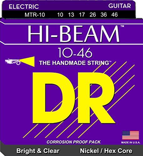 Ten Guitar String (DR Strings Electric Guitar Strings, Hi-Beam, Hex Core 10-46)