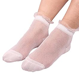 Summer Women Girls Sheer Silky Glitter Transparent Short Stockings Ankle Socks