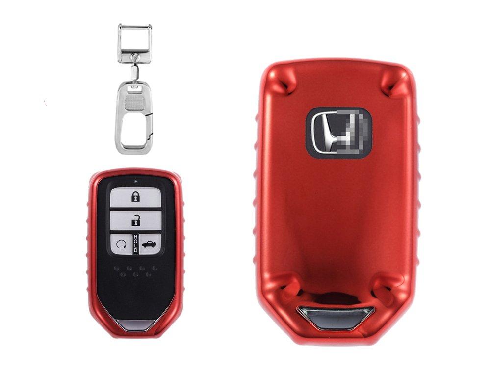 Qbuc車リモートキー保護シェルwithキーチェーンとスペアキーファインダーカバー交換用for Honda BT-1-2 B078N9GYRY レッド レッド
