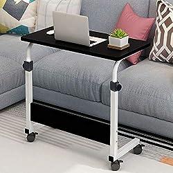 Friendgo Adjustable Height Folding Table,mobile Laptop Desk ,mobile Laptop Computer Desk Portable Foldable Computer Work Station Cart Height Adjustable From 24 To 35.5 Black White