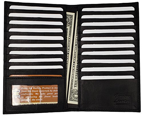 AG Wallets Genuine Leather Men's Long Id 19 Credit Card Wallet Black
