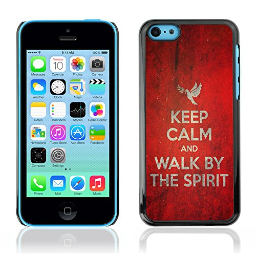 DREAMCASE Citation de Bible Coque de Protection Image Rigide Etui solide Housse T¨¦l¨¦phone Case Pour APPLE IPHONE 5C - KEEP CALM AND WALK BY THE SPIRIT