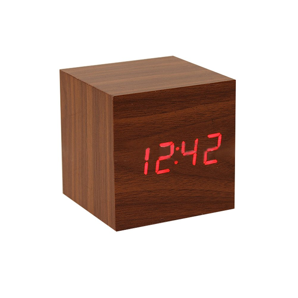 LED Digital Alarm Clock ixaer Wood Digital LED Brown Alarm Clock with Time Date Hygrometer And Temperature Clock - Multi-functional Small Silent Modern Style Electronic Alarm Clock by ixaer (Image #6)