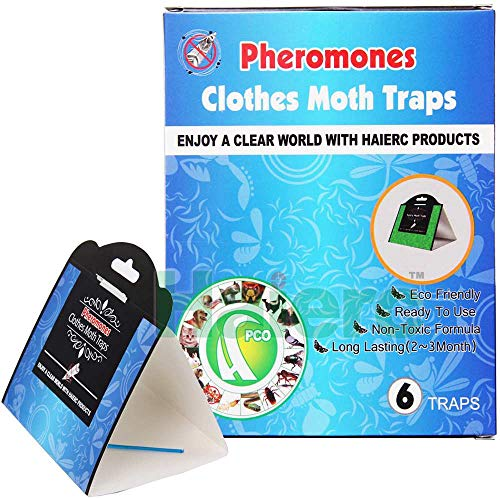 IMPROVED! Powerful Clothes Moth Trap 6-Pack with...