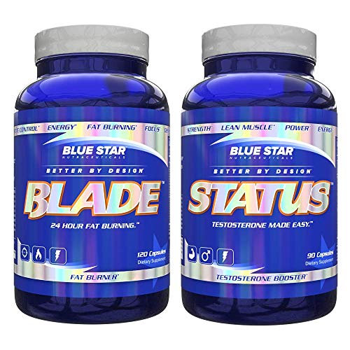 Blue Star Blade and Status Bundle for Men: Strongest Metabolism Booster Weight Loss Supplement and Testosterone Booster Pills to Support Weight Loss, Lean Muscle Mass and Strength Gains (Best Testosterone Booster For Weight Loss)