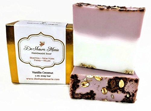 Vanilla Coconut Soap, 4oz Handmade Soap Bar, 100% Vegan, Cruelty Free, Palm Free Glycerin Soap, Tropical ()