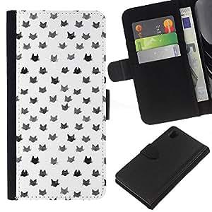 Patrón Gatos Blanco Gris lindo gato- la tarjeta de Crédito Slots PU Funda de cuero Monedero caso cubierta de piel Para Sony Xperia Z1 L39