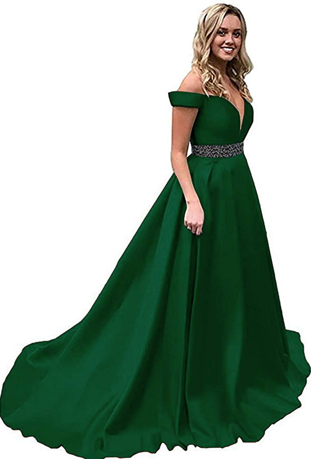 Emerald Green Rmaytiked Womens Off The Shoulder Prom Dresses Long Beaded 2019 Satin A Line Formal Evening Ball Gowns with Pockets