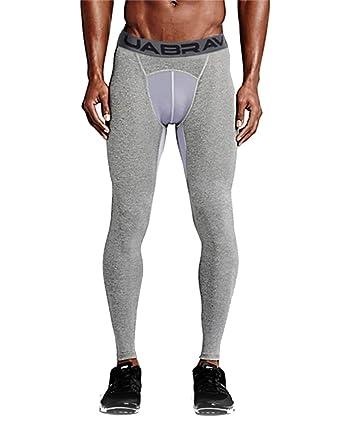 Pantalon de Compression Homme Legging de Sport Slim Fit Baselayer  Musculation pour Fitness Course Gris 62092a750b6