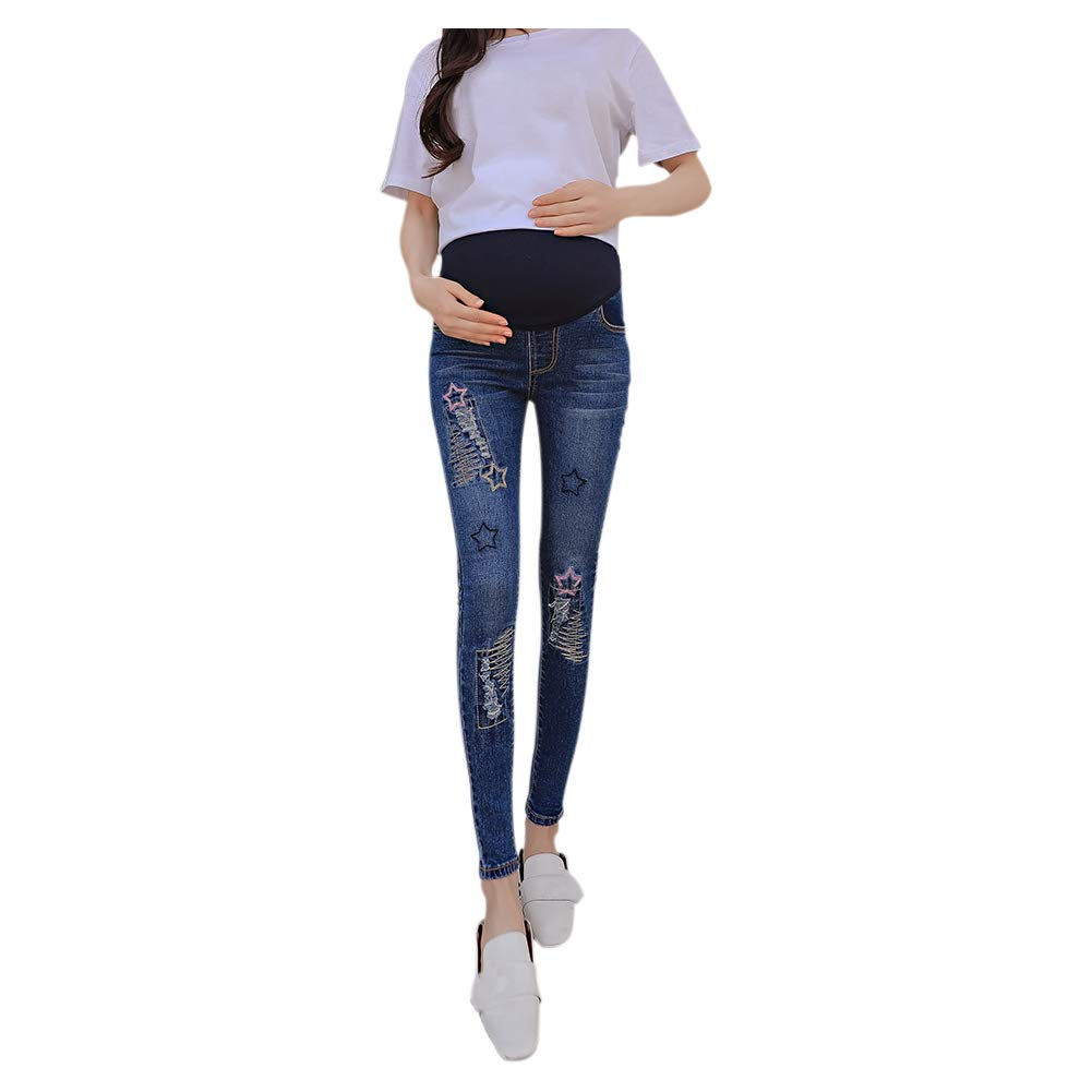 Janjunsi Maternity Jeans - Soft Over Bump Women Pants Stretchy Denim Trousers