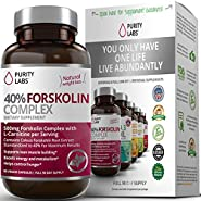 Forskolin Extract for Weight Loss - by Purity Labs - Standardized to 40%, 300mg Per Serving, Pure Coleus Forskohlii Appetite Suppressant, 3 Month Supply, 90 Count