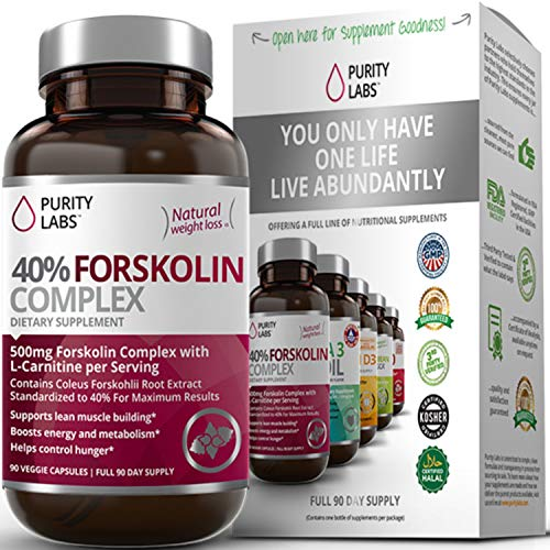 Purity Labs 100% Pure Forskolin for Weight Loss | #1 Natural Appetite Suppressant Supplement | Max Strength 40% Coleus Forskohlii Extract | Non-GMO, Gluten Free & Made in The USA