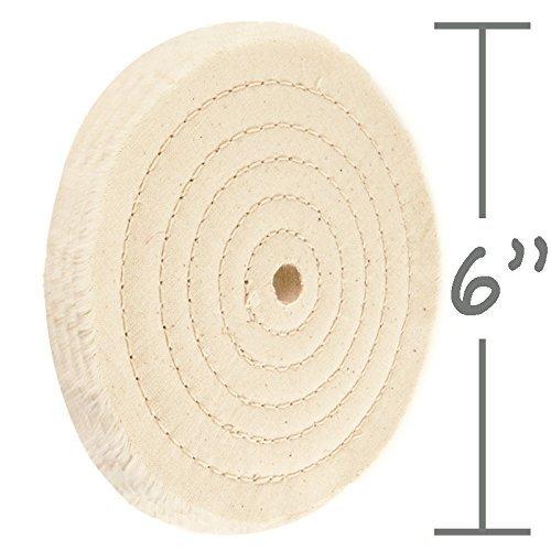 Premium 6'' Sewn Cotton Power Buffing Polishing Wheel 1/2'' Arbor Hole