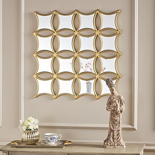 Christopher Knight Home 301522 Melina Honeycomb Wall Mirror, Clear + Gold ()