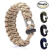 Nlife Adjustable Survival Bracelet Emergency Paracord Bracelet Survival Gear with Fire Starter for Men & Women (M & L, 4 Colors) (Khaki, M)