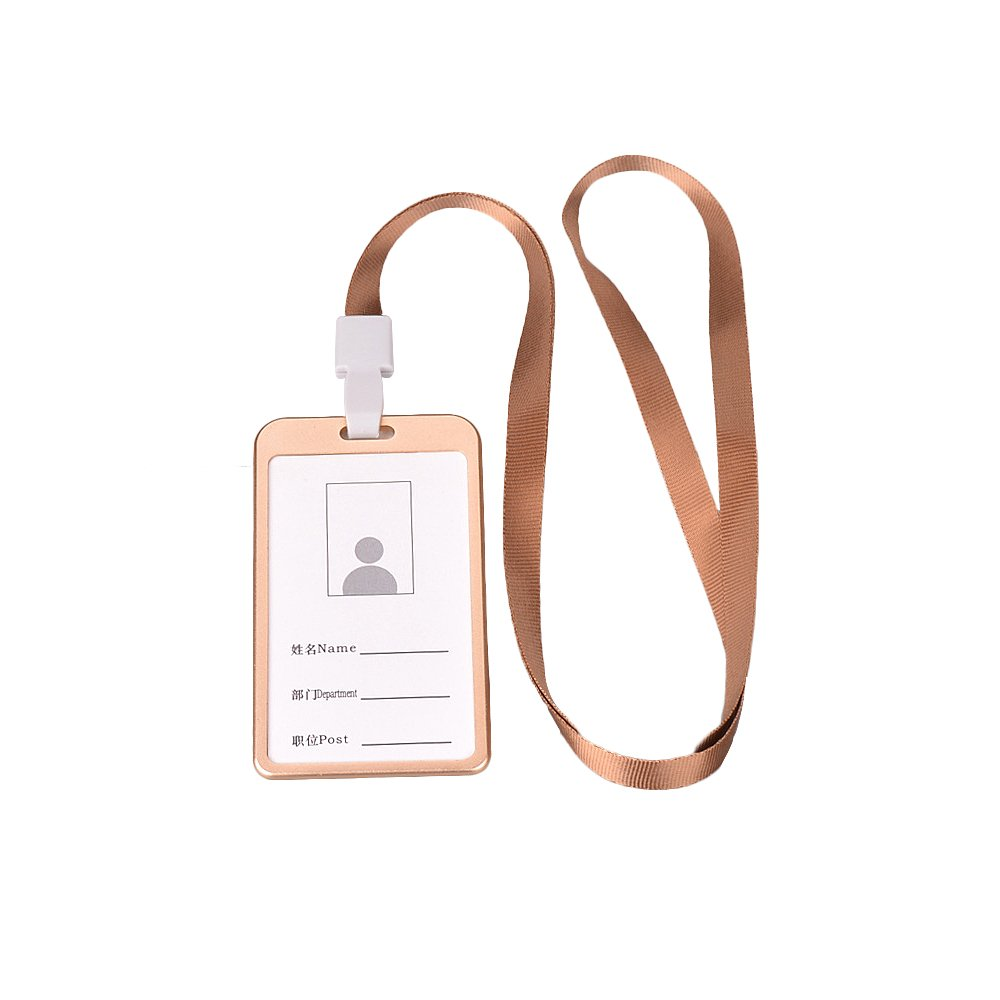 Zhi Jin Aluminum Slim ID Badge Holder with Lanyard Credit Card Sleeves Protectors Organizer Case Neck Strap Office School Pack of 6 Gold