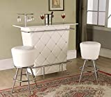 Cheap Tashara collection white tufted vinyl front bar table with acrylic crystal buttons and chrome accents and legs