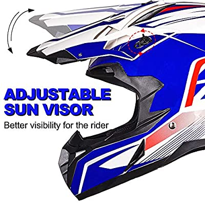 ILM Adult ATV Motocross Off-Road Street Dirt Bike Full Face Motorcycle Helmet DOT Approved MX MTV Suits Men Women (L, Blue White): Automotive