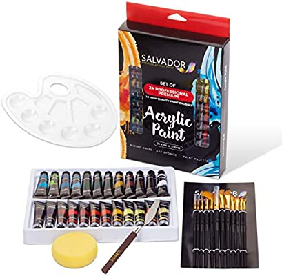 48 Piece Professional Painting Supplies Set Acrylic Paint Set Includes 24 Acrylic Paints 16 Painting Brushes with Case,Paint Knife,Art Sponge and Canvas,Perfect Gift for Artists Students and Kids