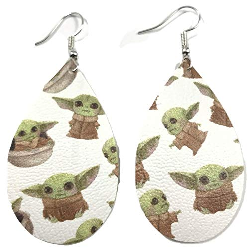 Mandalorian The Child Faux Leather 2 Inch Baby Yoda Earrings